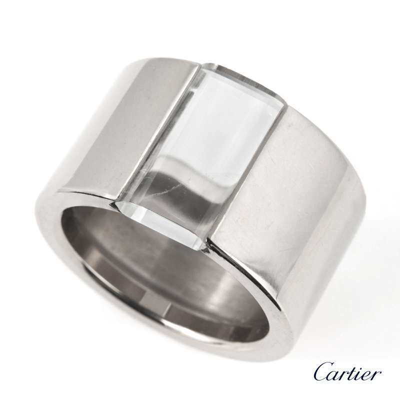 Cartier 18k White Gold Rock Ring Size 59